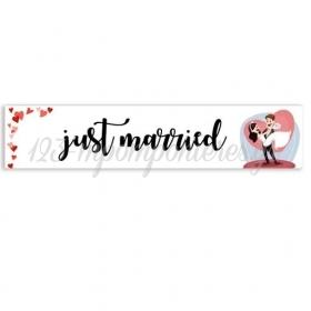 """ΠΙΝΑΚΙΔΑ ΑΥΤΟΚΙΝΗΤΟΥ ΓΑΜΟΥ """"JUST MARRIED - HAPPY COUPLE"""" 52X11cm - ΚΩΔ:553131-41-BB"""