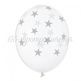 Σετ Διαφανα Μπαλονια Λατεξ 12''(30Cm) Αστερακια - ΚΩΔ:Sb14C-257-009-Bb