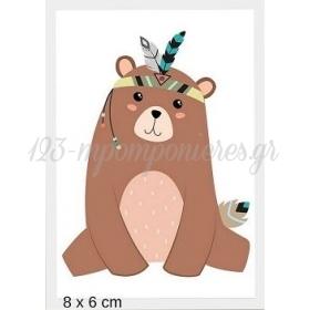 Ξυλινο Αρκουδακι Boho Με Laser Cut Κοπη Περιμετρικα 8Χ6Cm - ΚΩΔ:Mpoae57-8-Al