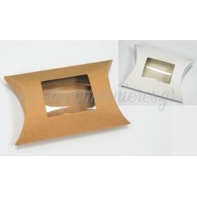 Χαρτινο Κουτι Μαξιλαρι Με Παραθυρο Ζελατινα Μεγαλο 12Cm - ΚΩΔ:506216