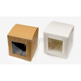 Κουτι Κυβος Χαρτινο Με Παραθυρο Ζελατινα Μεσαιο 8Cm - ΚΩΔ:506218