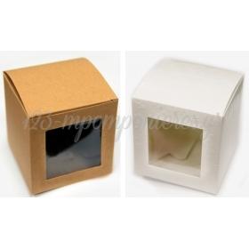 Κουτι Κυβος Χαρτινο Με Παραθυρο Ζελατινα Μεγαλο 10Cm - ΚΩΔ:506219