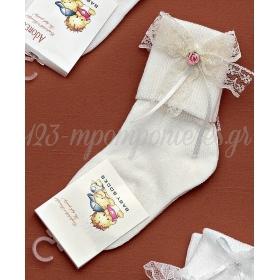 Καλτσακια Βρεφικα Λουλουδι Εως 18 Μηνων - Ζευγαρι - ΚΩΔ:252-Ad