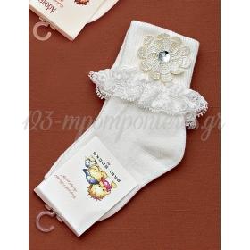 Καλτσακια Βρεφικα Λουλουδι Εως 18 Μηνων - Ζευγαρι - ΚΩΔ:276-Ad