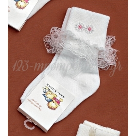 Καλτσακια Βρεφικα Λουλουδια Εως 18 Μηνων - Ζευγαρι - ΚΩΔ:278-Ad