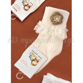 Καλτσακια Βρεφικα Λουλουδι Εως 18 Μηνων - Ζευγαρι - ΚΩΔ:336-Ad