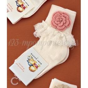 Καλτσακια Βρεφικα Λουλουδι Εως 18 Μηνων - Ζευγαρι - ΚΩΔ:348-Ad