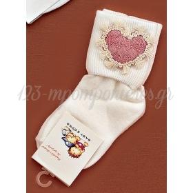 Καλτσακια Βρεφικα Καρδια Εως 18 Μηνων - Ζευγαρι - ΚΩΔ:354-Ad