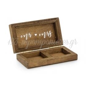 Ξυλινο Κουτακι Mr & Mrs 10X5.5Cm - ΚΩΔ:492837-Nt