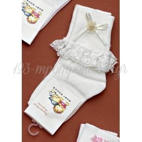 Καλτσακια Βρεφικα Λουλουδι Εως 18 Μηνων - Ζευγαρι - ΚΩΔ:72-Ad