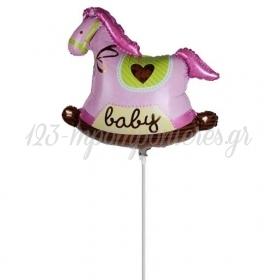 """Μπαλονι Foil 14""""(37Cm) Mini Shape Κουνιστο Αλογακι Ροζ - ΚΩΔ:206427-Bb"""