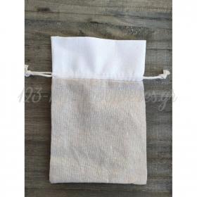 Πουγκι Λινο Λευκο Μπεζ 17.5X11.5Cm - ΚΩΔ:Y166-Rn
