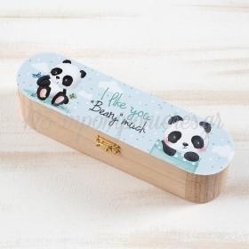 Ξυλινη Κασετινα Panda 23X6X6Cm - ΚΩΔ:Ks955-Pr