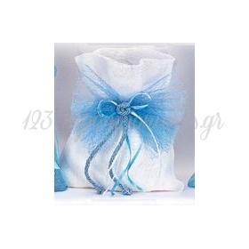 Σετ Λαδικών Βάπτισης σε Πουγγί με Γαλάζιο Φιόγκο - ΚΩΔ:LD-132-KB