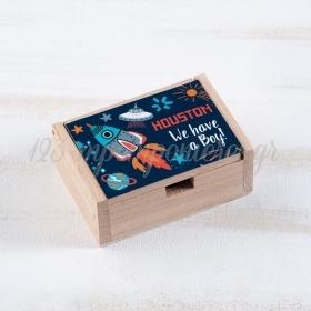 Ξύλινο Κουτάκι Διάστημα 10.5x7x4cm - ΚΩΔ:LN960-PR