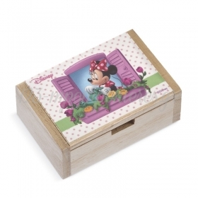 Ξύλινο Κουτάκι Minnie Λουλούδια 10.5x7x4cm - ΚΩΔ:NA171-PR