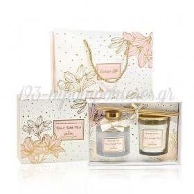 Σετ δώρου αρωματικό κερί και αρωματικό χώρου rose & white musk μαζί με τσάντα δώρου - ΚΩΔ:ST00690-SOP