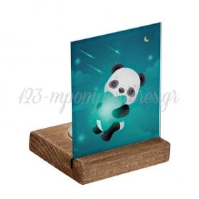 Plexiglass με Panda σε Ξύλινη Βάση Ρεσώ 8X8X11.5cm - ΚΩΔ:M10285-AD