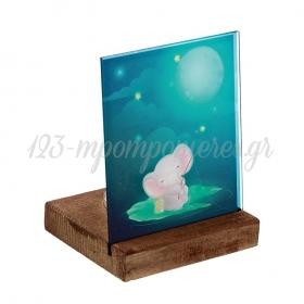 Plexiglass με Ελεφαντάκι σε Ξύλινη Βάση Ρεσώ 8X8X11.5cm - ΚΩΔ:M10287-AD