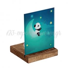 Plexiglass με Panda σε Ξύλινη Βάση Ρεσώ 8X8X11.5cm - ΚΩΔ:M10286-AD