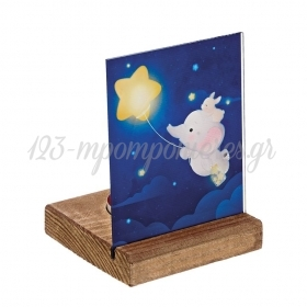 Plexiglass με Ελεφαντάκι σε Ξύλινη Βάση Ρεσώ 8X8X11.5cm - ΚΩΔ:M10293-AD