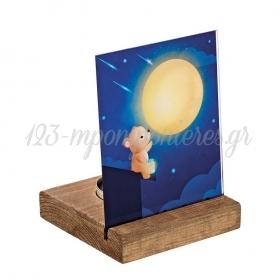 Plexiglass με Αρκουδάκι σε Ξύλινη Βάση Ρεσώ 8X8X11.5cm - ΚΩΔ:M10288-AD
