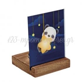 Plexiglass με Panda σε Ξύλινη Βάση Ρεσώ 8X8X11.5cm - ΚΩΔ:M10294-AD