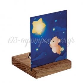 Plexiglass με Αρκουδάκι σε Ξύλινη Βάση Ρεσώ 8X8X11.5cm - ΚΩΔ:M10290-AD