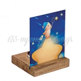 Plexiglass με Αρκουδάκι σε Ξύλινη Βάση Ρεσώ 8X8X11.5cm - ΚΩΔ:M10289-AD