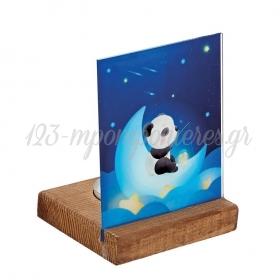 Plexiglass με Panda σε Ξύλινη Βάση Ρεσώ 8X8X11.5cm - ΚΩΔ:M10296-AD