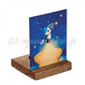 Plexiglass με Panda σε Ξύλινη Βάση Ρεσώ 8X8X11.5cm - ΚΩΔ:M10295-AD