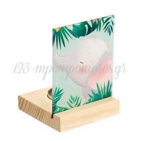 Plexiglass με Ελεφαντάκι σε Ξύλινη Βάση Ρεσώ 8X8X11.5cm - ΚΩΔ:M10282-AD