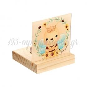 Plexiglass με Μελισσούλα σε Ξύλινη Βάση Ρεσώ 8X8X9.5cm - ΚΩΔ:M10271-AD
