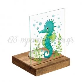 Plexiglass με Ιππόκαμπο σε Ξύλινη Βάση Ρεσώ 8X8X11.5cm - ΚΩΔ:M10283-AD