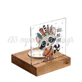 Plexiglass με Ασβό Ινδιάνο σε Ξύλινη Βάση Ρεσώ 8X8X9.5cm - ΚΩΔ:M10264-AD