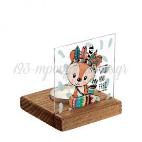 Plexiglass με Αλεπού Ινδιάνος σε Ξύλινη Βάση Ρεσώ 8X8X9.5cm - ΚΩΔ:M10261-AD