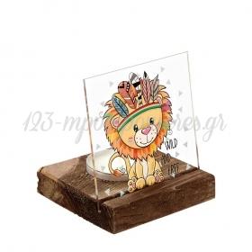 Plexiglass με Λιοντάρι Ινδιάνος σε Ξύλινη Βάση Ρεσώ 8X8X9.5cm - ΚΩΔ:M10263-AD