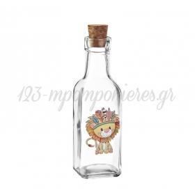 Γυάλινο Μπουκάλι με Εκτύπωση Λιοντάρι Ινδιάνος 4.5X17cm - ΚΩΔ:M10426-AD