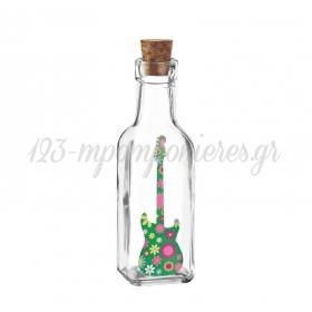 Γυάλινο Μπουκάλι με Εκτύπωση Κιθάρα Φλοράλ 4.5X17cm - ΚΩΔ:M10428-AD