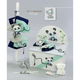 Πακέτο βάπτισης ζωάκι Panda σε αποχρώσεις του μπλε και βεραμάν - Σετ 7 τεμαχίων - ΚΩΔ:29-111-ZB