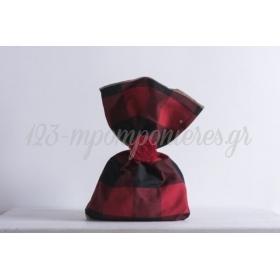 Τσουβάλι μισό καρώ κόκκινο-μαύρο μισό λινάτσα 22x33cm - ΚΩΔ:382209-22X33-NT