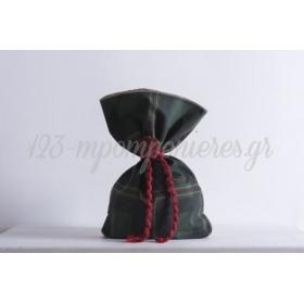 Τσουβάλι μισό πράσινο καρώ - μισό λινάτσα 22x33cm - ΚΩΔ:382904-22X33-NT