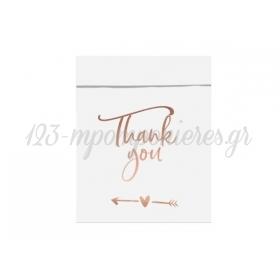 Σακουλάκια Thank You ροζ χρυσο 13x16.5cm - ΚΩΔ:496633-NT