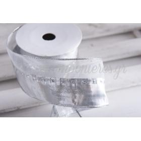 Κορδέλα lurex ασημί 60mm - 9.14m - ΚΩΔ:600099-NT