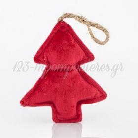 Χριστουγεννιάτικο Δέντρο βελούδινο κόκκινο 10x2,5x28cm - ΚΩΔ:6043786-NT