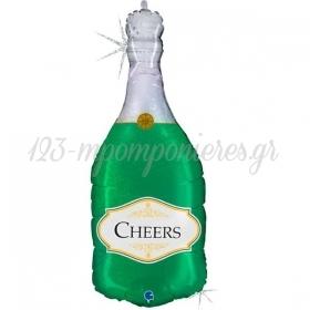 """Μπαλόνι Foil Μπουκάλι Πράσινο Σαμπάνιας Cheers 36""""(91cm) - ΚΩΔ:72028GH-BB"""