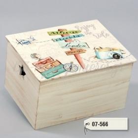 Ξύλινο Μπαούλο με τυπωμένη παράσταση ταξίδι - travel - ΚΩΔ:07-566-ZB