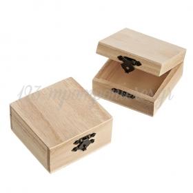 Ξύλινο Κουτί με Μεταλλικό Κούμπωμα 8X8X4cm - ΚΩΔ:M3397-AD