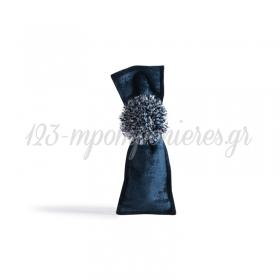 Πουγκι Μακροστενο Με Υφασμα Βελουδο - Μπλε Σκουρο - 6Χ19 - ΚΩΔ:376022-Nt