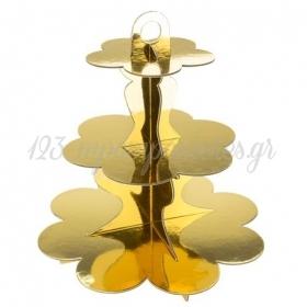 Βαση Για Γλυκα τριόροφη χρυσή - ΚΩΔ:779571-NT